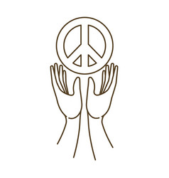 Hands receiving symbol love and peace vector