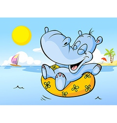happy hippo swim in sea - holiday greeting vector image