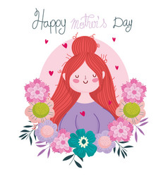 Happy mothers day woman flowers delicate vector