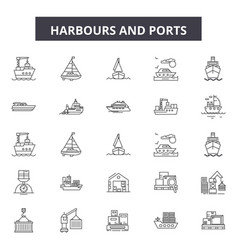 harbours line icons signs set outline vector image
