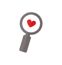 heart search icon vector image