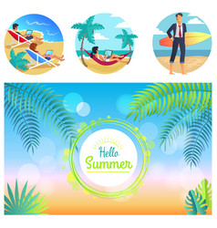 hello summer 2017 poster vector image