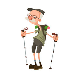 Hiker with backpack vector