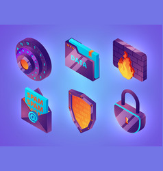 Internet online security 3d personal data web vector