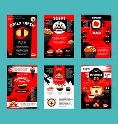 Japanese restaurant and sushi bar menu template vector