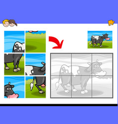 Jigsaw puzzles with cow farm animal character vector