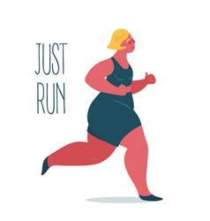 Just run body positive overweight woman jogging vector