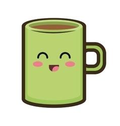 Kawaii cartoon coffee mug vector
