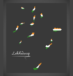 lakshadweep islands map with indian national flag vector image
