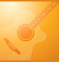 Light glowing orange background with guitar vector
