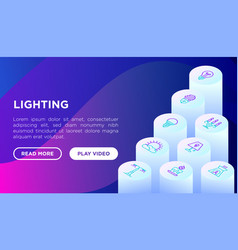 lighting concept with isometric thin line icons vector image