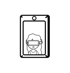 line girl with 3d glasses inside smartphone vector image