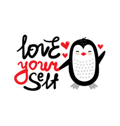 love yourself penguin heart vector image