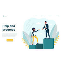 Man helping woman to grow and progres vector