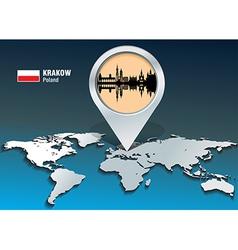 Map pin with Krakow skyline vector