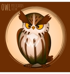 Menacing brown owl cartoon series vector