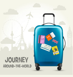 modern blue plastic wheeled suitcase - tourism vector image