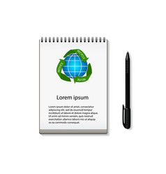 Notebook with recycling arrows around earth globe vector