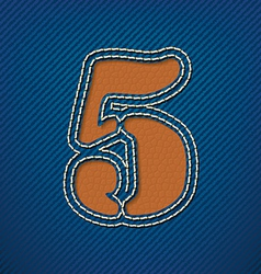 Number 5 made from leather on jeans background vector