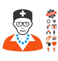 old nurse icon with valentine bonus vector image