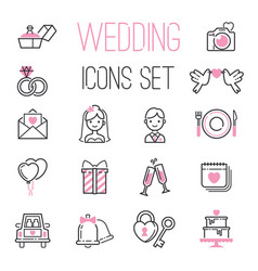 Outline wedding day black and pink marriage icons vector