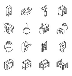 Pack furniture and electric devices linear isom vector