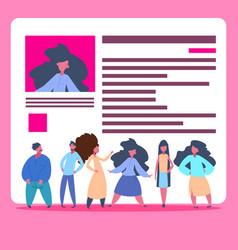 people group over cv resume team choosing female vector image