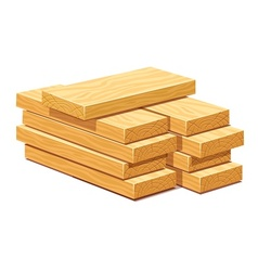 Pile of wooden timber planks vector image
