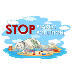 Poster design with seal and plastic bags vector