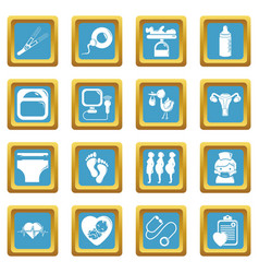 Pregnancy icons set sapphirine square vector