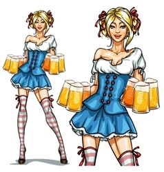 Pretty Bavarian girl Oktoberfest Pin Up vector image