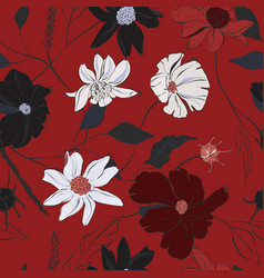 red floral bloom hand-drawn beautiful pattern vector image