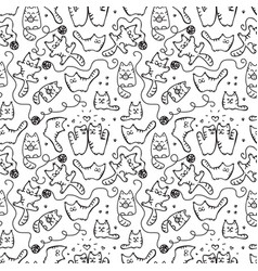 Scetched doodle cat pattern vector