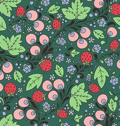 seamless pattern with strawberry berry vector image
