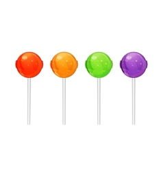 Set colorful candy on a stick vector