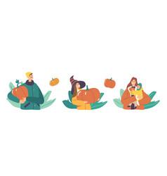set happy family picking pumpkins at autumn garden vector image