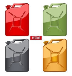 Set of Fuel container jerrycan Gasoline canister vector image