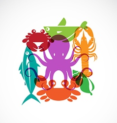 set of seafood symbols vector image