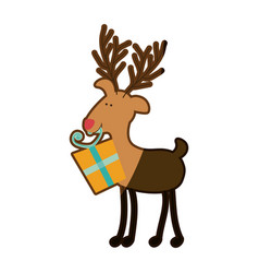 Silhouette caricature color of reindeer with gift vector