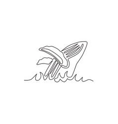 Single continuous line drawing big whale fish vector