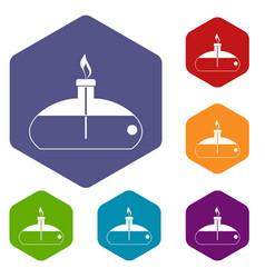 Spiritlamp icons set hexagon vector