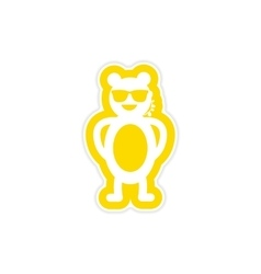 Stylish paper sticker on white background bear vector