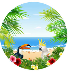 summer card with tropical plant and bird vector image