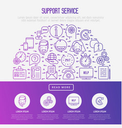 support service concept in half circle vector image