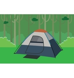 tent camping the jungle with trees in forest vector image