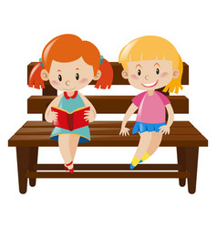 Two girls sitting on wooden bench vector