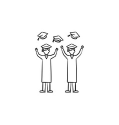 university graduates hand drawn sketch icon vector image