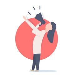 woman screaming in megaphone vector image