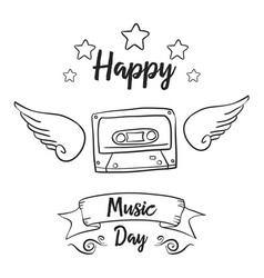 World music day hand draw doodles vector