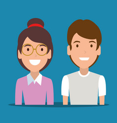 young couple avatar character vector image